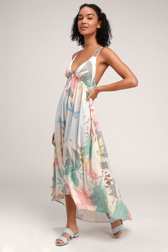 4a113a03785e Kaitlyn Beige Multi Print Strappy Backless Maxi Dress
