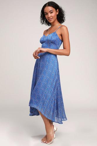 d80cede80bd Dreams of Love Royal Blue Floral Print High-Low Midi Dress