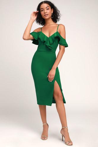 2b4e41da04c7 Hello Sunshine Green Ruffled Bodycon Midi Dress