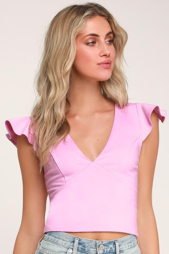 54c8b1c9d9d9b9 Cute Mauve Pink Crop Top - Ruffled Crop Top - V-Neck Crop Top