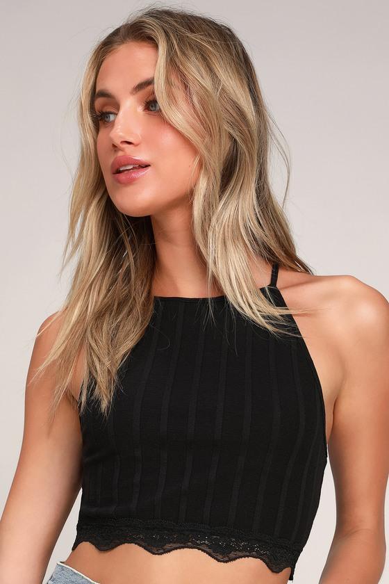 Women's 70s Shirts, Blouses, Hippie Tops All Your Love Black Lace Crop Top - Lulus $38.00 AT vintagedancer.com