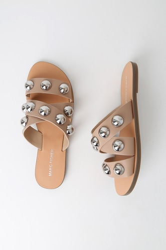 239ef0a0f Bryte Light Natural Studded Slide Sandals