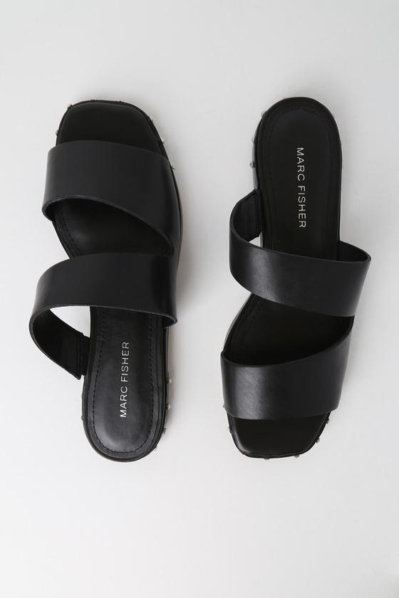 3af687493 Marc Fisher Jaylin - Black Slide Sandals - Studded Sandals