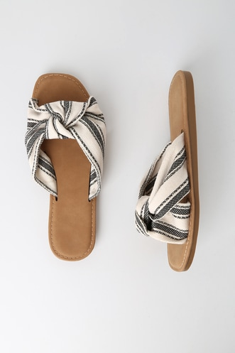 0f260c9bbcb9 Harlyn Beige and Black Striped Knotted Slide Sandals