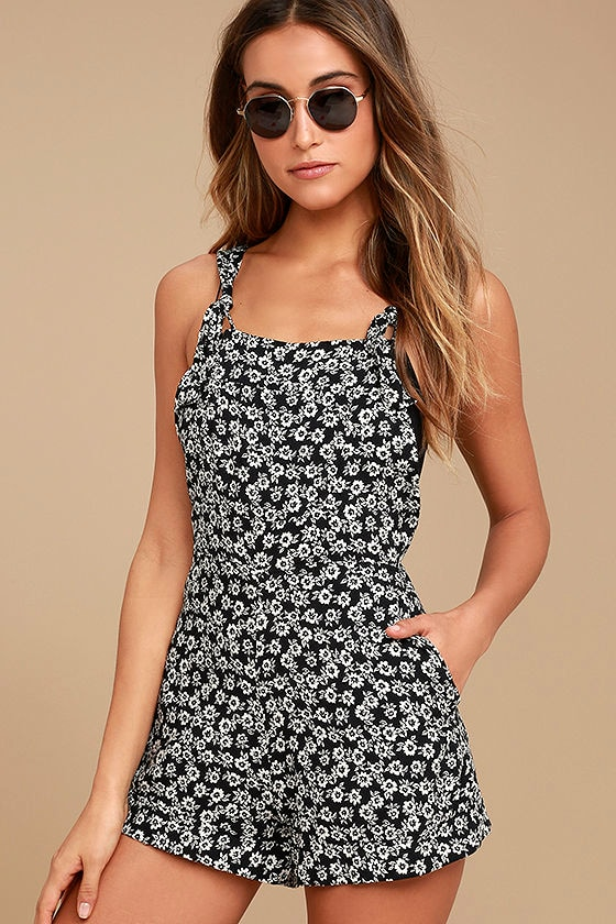 f1c32f1db9d Lucy Love Easy Livin  - Black Floral Print Overalls - Shorteralls
