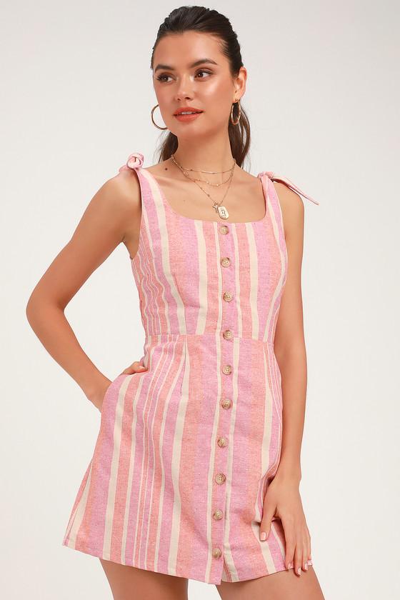 Brooklin Pink Multi Striped Button Front Mini Dress