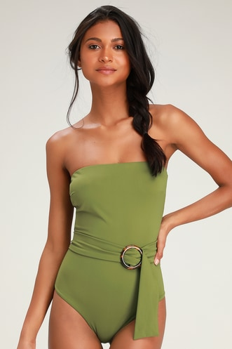 6432700e346 Rejuvenate Olive Green Strapless Belted One-Piece Swimsuit