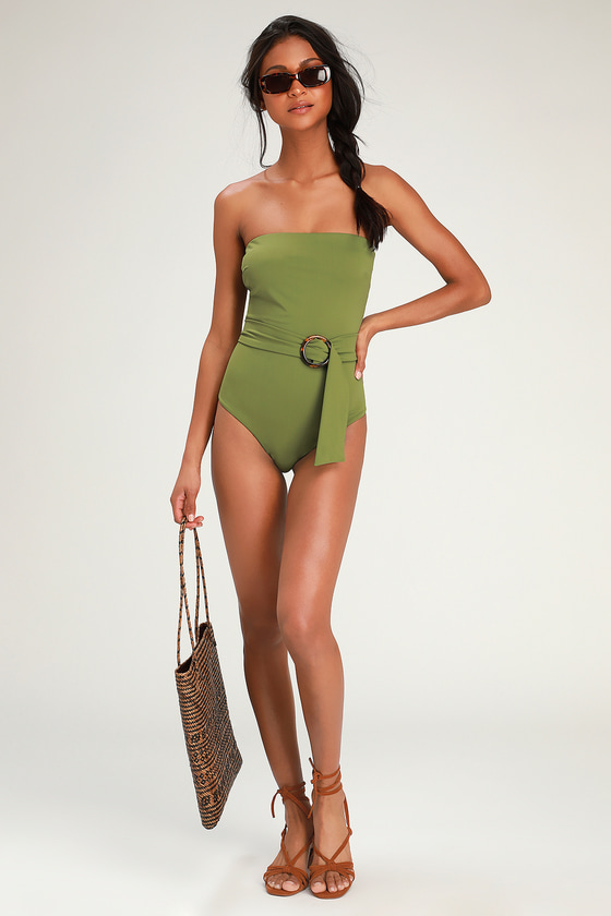 60s Swimsuits, 70s Bathing Suits | Retro Swimwear Rejuvenate Olive Green Strapless Belted One-Piece Swimsuit - Lulus $20.00 AT vintagedancer.com
