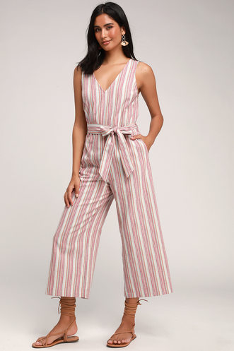 13402966601 Aemelia Red Multi Striped Sleeveless Culotte Jumpsuit