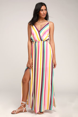 7fd0048c3ea Lost In Paradise White Rainbow Striped Backless Maxi Dress