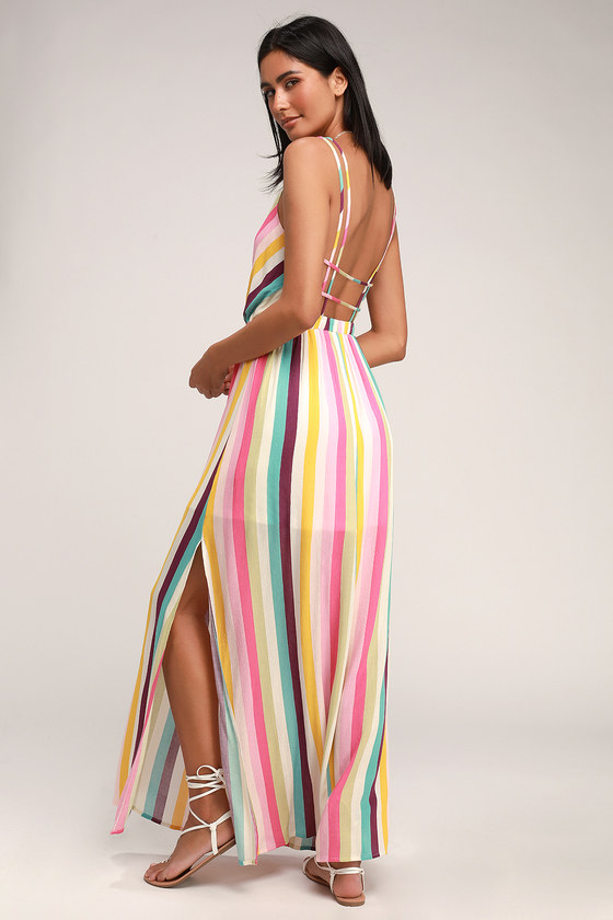 8562717c2dc9 Cute Striped Maxi Dress - Backless Striped Maxi - Side Slit Maxi