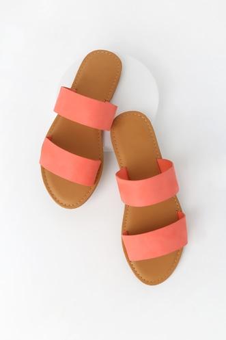 bf2d15d75896 Santa Monica Coral Microfiber Suede Slide Sandals