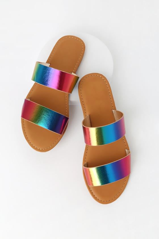 Cute Rainbow Sandals - Slide Sandals