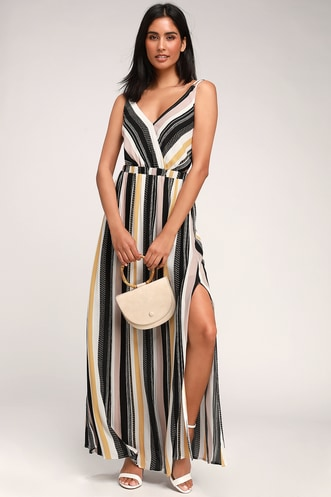 8c4a905121 Lost In Paradise Black Multi Striped Backless Maxi Dress
