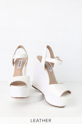 491e51f54 Citrus White Leather Platform Wedges