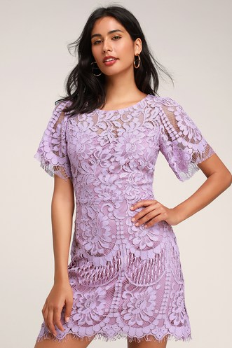 cd9a936d9f4 Pearson Lavender Lace Short Sleeve Dress