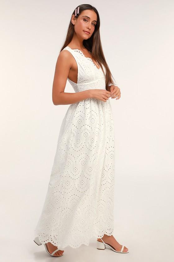 Vintage Style Wedding Dresses, Vintage Inspired Wedding Gowns Splendid White Eyelet Lace Maxi Dress - Lulus $52.00 AT vintagedancer.com