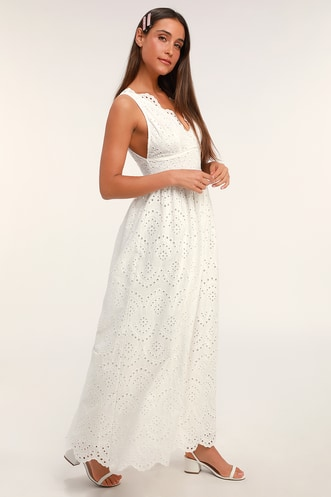 64929b0905a Splendid White Eyelet Lace Maxi Dress