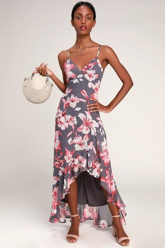 5a771bdba28 Kimi Dusty Purple Floral Print Ruffled Maxi Dress