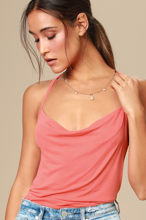 Allura Coral Pink Cowl Neck Backless Tank Top by Lulus