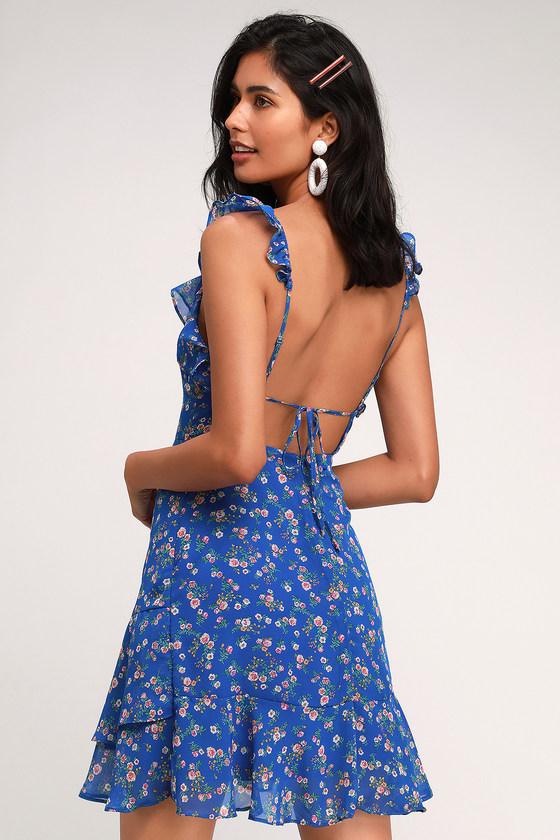 cf7320c6b3 Blue Dress - Floral Print Dress - Ruffled Dress - Backless Dress