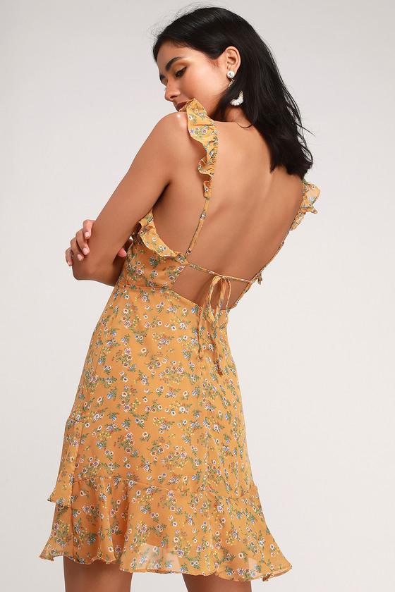 5b369ffbb76ff Backless Yellow Dress - Floral Print Dress - Ruffled Dress