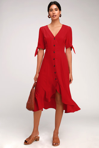 7b49e64d243 Gemma Red Button Front Tie Sleeve Ruffled Midi Dress