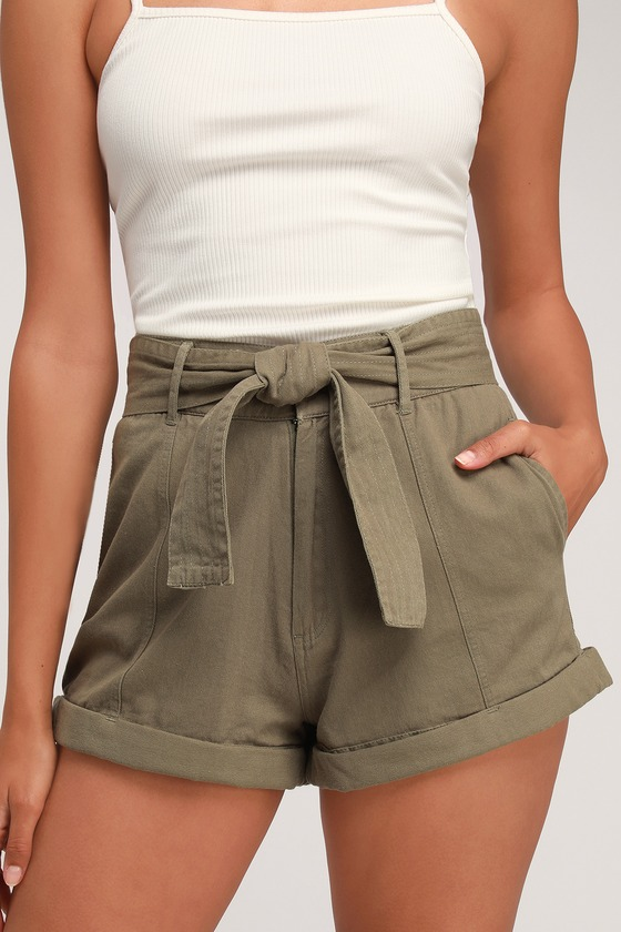 28a414e1d5 Day After Day Olive Green High-Waisted Shorts