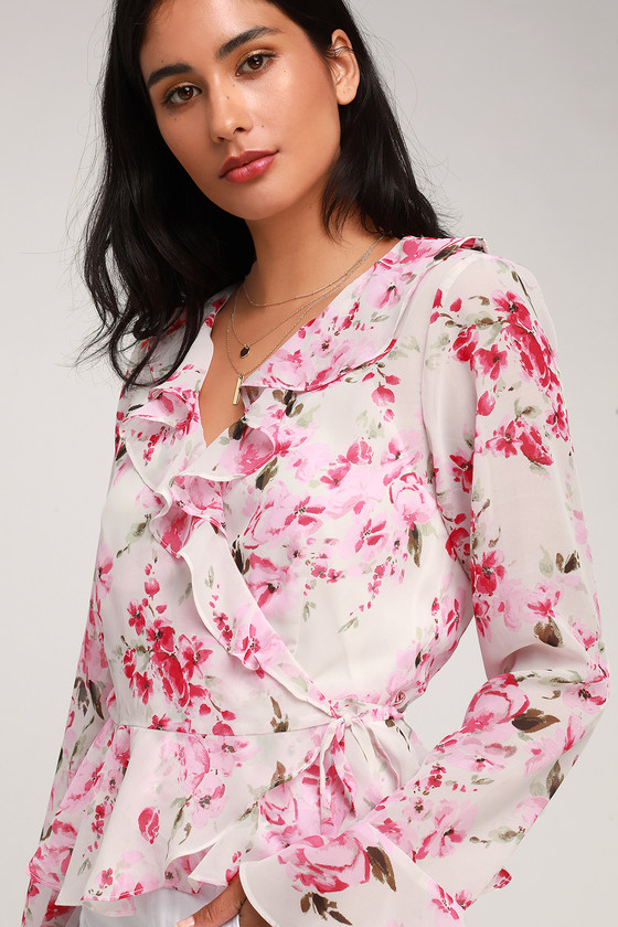 Jameela White and Pink Floral Print Sheer Ruffled Wrap Top