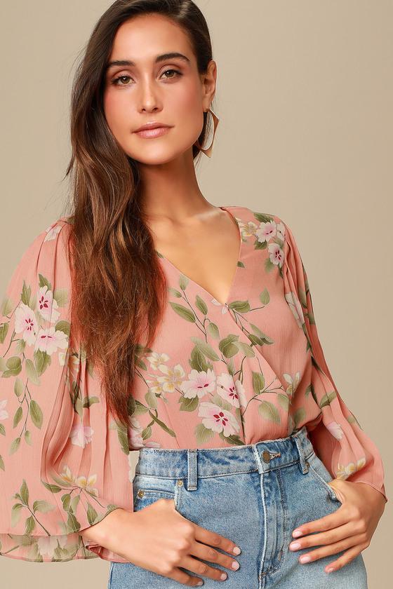 61836a222 Peach Floral Print Bodysuit - Surplice Bodysuit - Floral Bodysuit