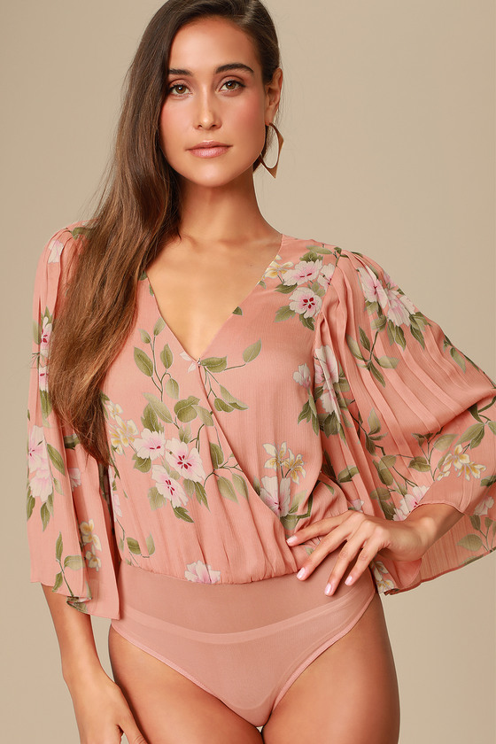 330fafb1d414 Peach Floral Print Bodysuit - Surplice Bodysuit - Floral Bodysuit