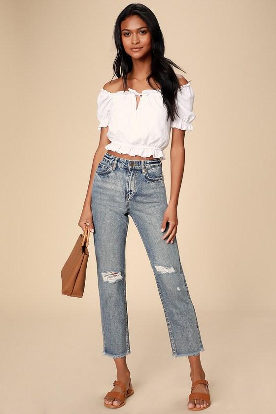 Selena Medium Wash High-Waisted Distressed Jeans - Lulus