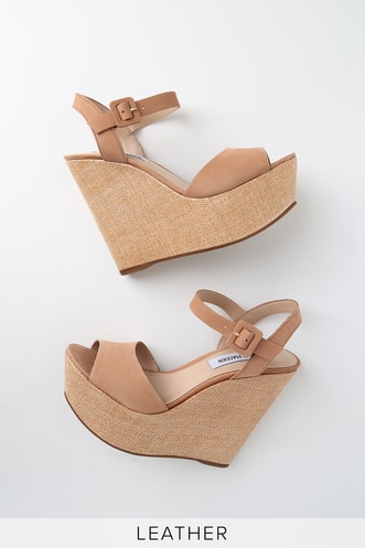 3070fb040 Citrus Camel Nubuck Leather Platform Wedges