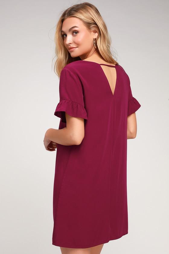 5165339333e Cute Wine Red Dress - Ruffle Shift Dress - Red Short Dress