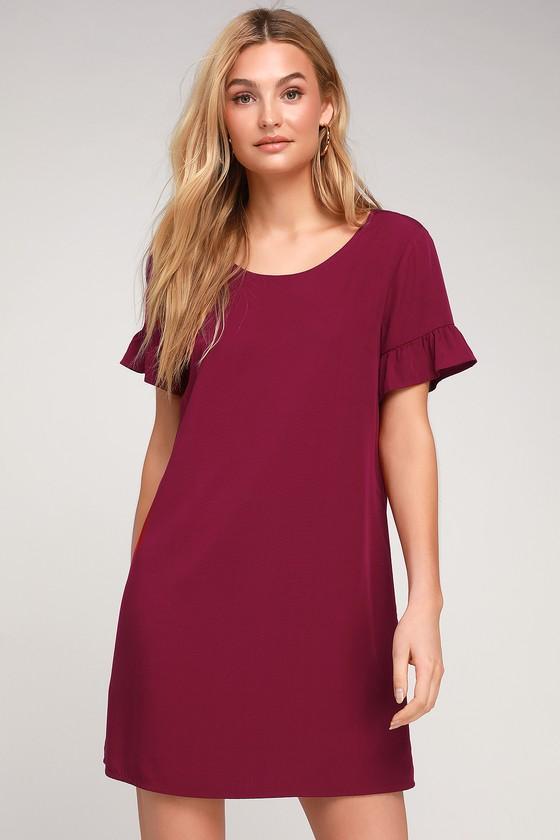 94e5fb94f847 Cute Wine Red Dress - Ruffle Shift Dress - Red Short Dress