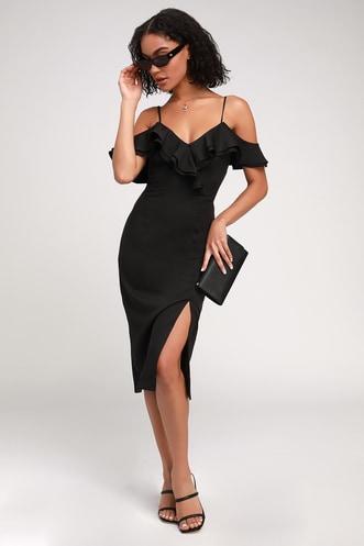 0a4089cdb73 Hello Sunshine Black Ruffled Bodycon Midi Dress