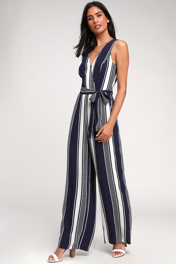 clearance prices 50% off new high quality Lovely Striped Jumpsuit - Navy Blue Jumpsuit - Wide-Leg Jumpsuit
