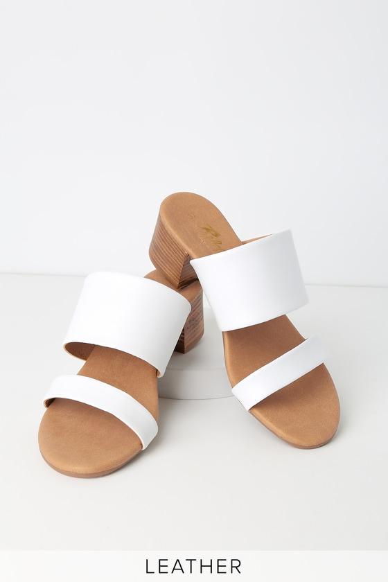 4e76d71d9834e Westley White Leather High Heel Sandals