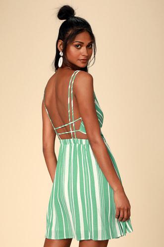 1e096e087d Oceanside Adventure Green Striped Backless Skater Dress
