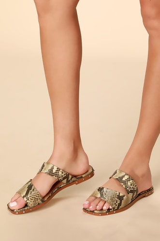 e908cfae5 Jaylin 2 Natural Snake Square Toe Slide Sandals
