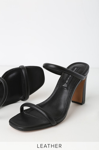 3be45ee92 Jersey Black Leather High Heel Sandals