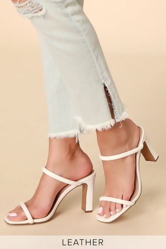 452d264e78ab Jersey White Leather High Heel Sandals