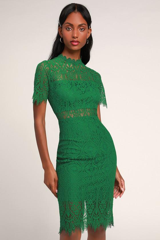 b4021448d928 Chic Green Dress - Lace Dress - Sheath Dress - Lace Midi