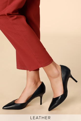 4a7fad8a57af Tuscany Black Leather Pointed Toe Pumps