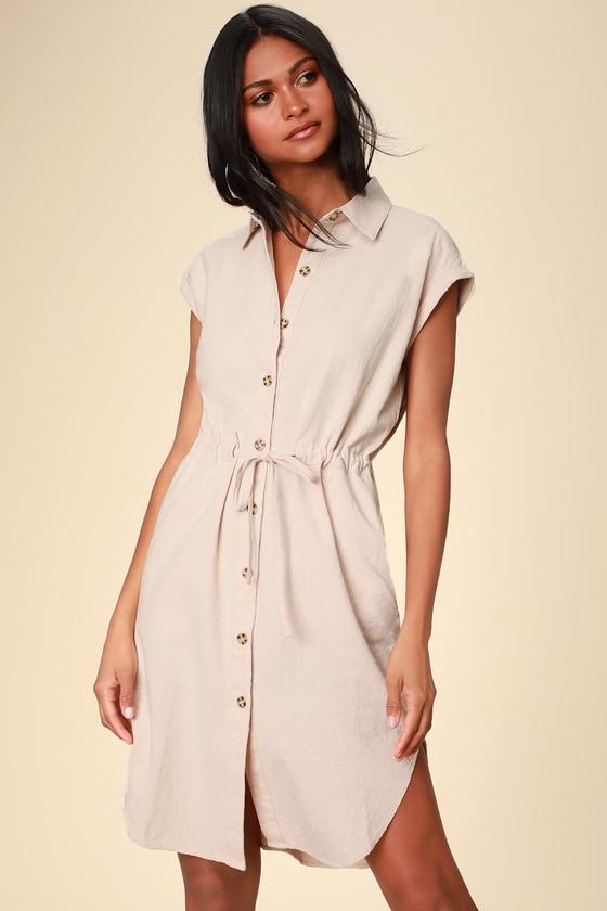Portugal Beige Button Up Midi Shirt Dress by Rhythm