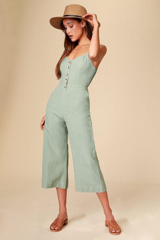 618a3049591 Cute Sage Green Jumpsuit - Wide-Leg Jumpsuit - Culotte Jumpsuit