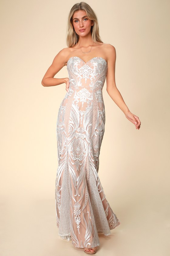 Bariano BEATRIX WHITE AND NUDE LACE STRAPLESS MAXI DRESS