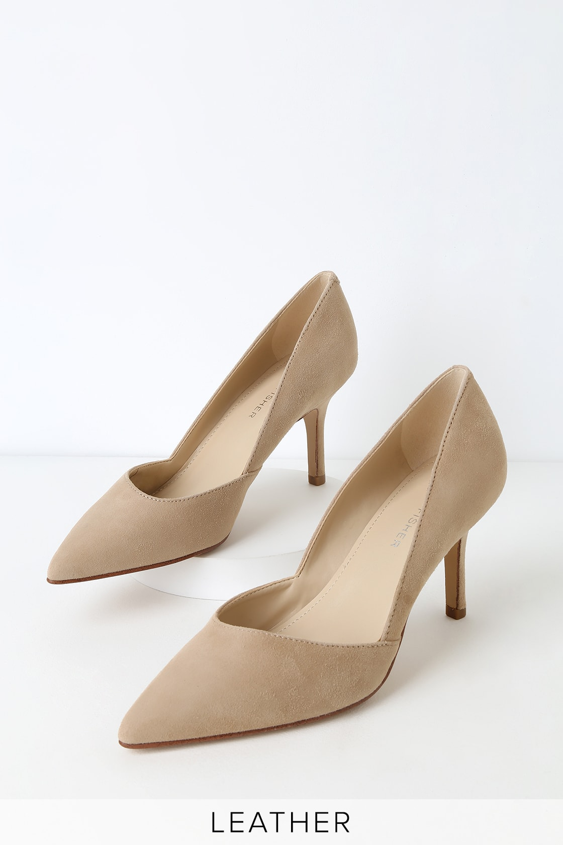 Tuscany Light Natural Suede Leather Pointed Toe Pumps by Marc Fisher