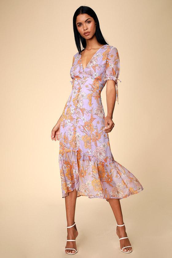 410669e216 ASTR The Label Chandler - Lilac Floral Print Dress - Midi Dress
