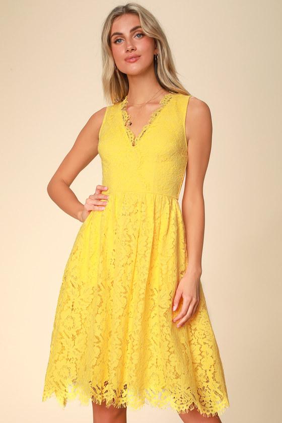 636db2d9644 Lovely Yellow Dress - Lace Dress - Midi Dress - Yellow Midi